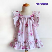 DIY-DIGITAL SEWING PATTERN Floral DRESS with Ruffle Sleeves Baby to child Girls