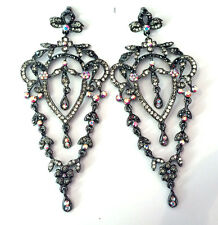 Butler and Wilson Pewter Crystal Flower Leaf Chandelier Style Drop Earrings NEW