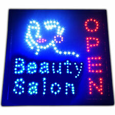 "LARGE Beauty Salon LED store Open Sign 19x19"" spa neon barber nails shop facial"