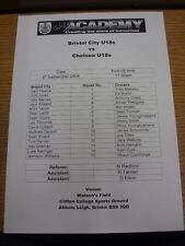 04/09/2004 Bristol City Youth v Chelsea Youth  (Single sheet). Thanks for viewin