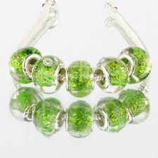 5pcs 925 silver plated MURANO glass bead LAMPWORK For European Charm Bracelet