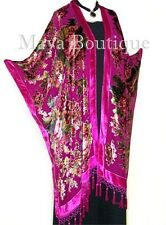 Caftan Kimono Beaded Fringes Silk Burnout Velvet Pink Gypsy Rose Maya Matazaro