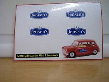 Corgi 225 Austin Mini 7 Jensen's sticker decals