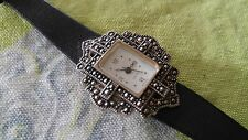 Sweet Vtg womens Avon wrist watch gothic leather band for parts repair AS-IS