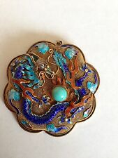 VINTAGE CHINESE SILVER FILIGREE DRAGON ENAMEL TURQUOISE BROOCH PENDANT