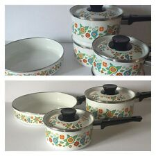 Enamelware Set of 5 Frying and Saucepans Made in Spain White Floral Retro Vtg
