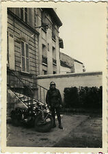 PHOTO ANCIENNE - VINTAGE SNAPSHOT - MOTO MOTARD MOTOCYCLETTE - MOTORBIKE