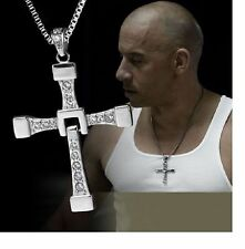 MENS SILVER CROSS NECKLACE  PENDANT FAST AND FURIOUS DOMINIC TORETTO'S MOVIE UK
