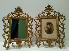 Antique Vintage Picture Photo Mirror Frame Cast Iron Ornate Rococo style set