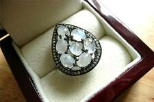 Big 925 SILVER OVAL CABOCHON RAINBOW MOONSTONE TEARDROP SHAPED RING SZ Q 8.5