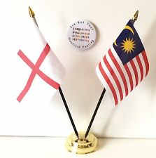 England & Malaysia Double Friendship Table Flags & Badge Set