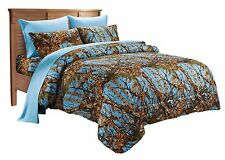 7 PC QUEEN POWDER BLUE CAMO COMFORTER AND SHEET SET! BEDDING SOFT MICROFIBER