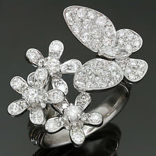 Exquisite! Diamond 18k White Gold Butterfly Flower Ring