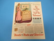 1948 Bendix Front  Row Radio & Television Now Only $39.95* Color Print Ad, PA006