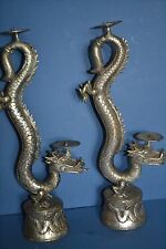 Pair Large Mid- 20th Century Chinese Figural Dragon Candlesticks, c1950