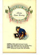 Cute Dressed Chicken Man-Egg Picture-Easter Greeting Holiday Vintage Postcard