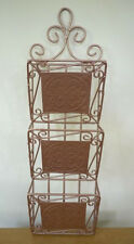 Vintage 70s Copper Colored Wall Mounted Paper Letter Mail Organizer Rack