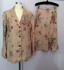 BRAND NEW BODEN PINK  FLORAL PRINT LINEN SKIRT AND JACKET SUIT SIZE 12