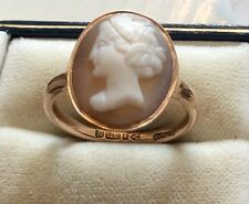 Lovely 1914 Ladies Antique Chester Hallmarks Solid 9ct Rose Gold Cameo Ring S