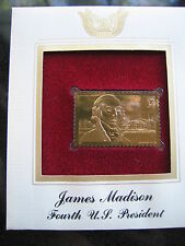 JAMES MADISON 4TH US PRESIDENT replica FDI 22kt Gold Golden Cover Stamp FDC 2001