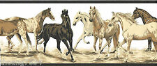 Brown Beige Black Horses White Blackground Wall paper Border 12 feet