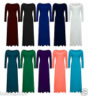 New Womens Ladies Long Sleeve Stretch Plain Bodycon Maxi Full Length Dress 8-22