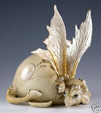 "White Baby Dragon Hatching From Egg Figurine Hatchling 5"" Detailed Resin NIB"
