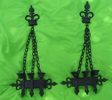 Vtg Retro Gothic Medieval Sexton 1967 Pair of Candle Holders Castle Dungeon