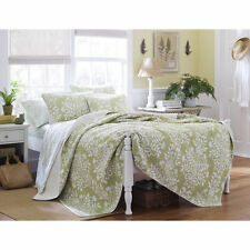 King Size Laura Ashley Sage Floral Cotton 3- PC Reversible Quilt,Bedspread Set