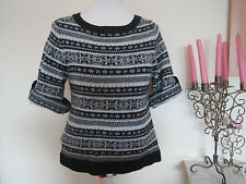 Ladies Aztac Navajo Chunky Knitted Jumper Top Size8 Black Winter Blouse Sweater