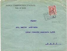 P6164   Bari, Busta BCI, annullo banca su perfin c.10 Leoni
