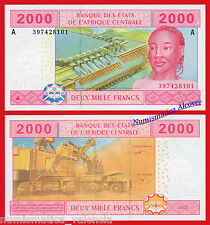 CENTRAL AFRICAN STATES GABON 2000 Francs 2002 New SIGN Pick 408A  UNC