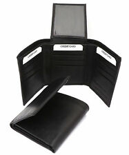 Trifold Genuine Leather Black Compact Wallet  With Zipper Pocket 12 Card Pockets