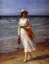 Oil painting otto bache - a lady walking on a beach holding handbag no framed