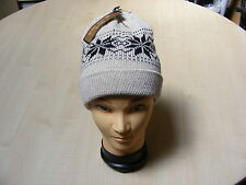 MENS THICK SOFT CREAM AND BLACK CHUNKY KNITTED SKI BEANIE HAT - ONE SIZE -  NEW