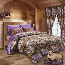 7 PC LAVENDER CAMO COMFORTER, SHEET SET KING CAMOUFLAGE BEDDING BED IN BAG