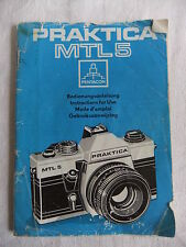 Instructions 35mm SLR camera PRAKTICA MTL5 Spanish German English   - CD/Email