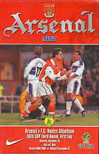 Arsenal v Nantes - UEFA Cup 25/11/1999 - Football Programme