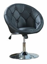 Swivel Chair Club Bar Stool Black Round Back Adjustable Vanity Button Tufted