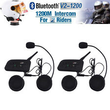 2x BT 1200M Bluetooth Motorcycle Helmet Intercom Interphone Headset V2 2 Riders