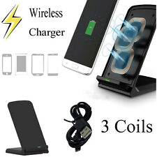 3 Coils Qi Wireless Fast Charger Charging Stand Holder Dock for Samsung Galaxy