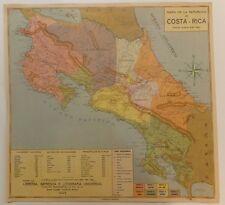 Amerique Centrale CostaRica Mapa de la Republica de COSTA RICA Lithographie 1945