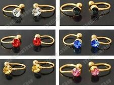 6 x U CLIP ON gold earrings PINK,BLUE,BLACK,AMBER,RED