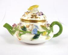 C1830 ANTIQUE MINTON PORCELAIN MINIATURE TOY TEAPOT ENCRUSTED FLOWERS