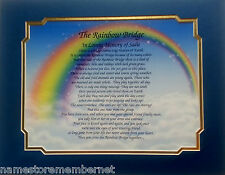 RAINBOW BRIDGE PERSONALIZED POEM PET MEMORIAL GIFT FOR LOSS OF DOG OR CAT