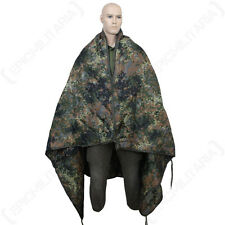 Rip Stop Poncho Liner - Flecktarn Camo - One Size fits all - Waterproo Rain Cape