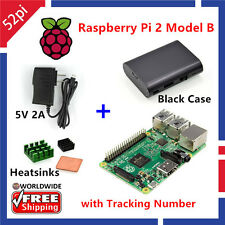 Raspberry Pi 2 Model B 1GB RAM Quad Core + Case + Heatsinks + 5V 2A Power Supply