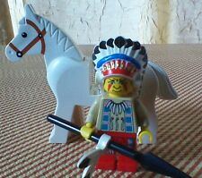 LEGO Western NATIVE AMERICAN CHIEF & WHITE HORSE Indian Lot Minifigure