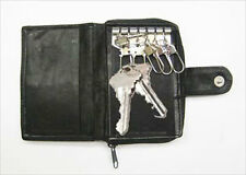 BLACK GENUINE LEATHER KEYS Chain  Holder Wallet Case Ring Accordion Coin Holder