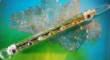 6.75 INCH GREEN PERIDOT CRYSTAL SILVER WAND WITH CHAKRA STONES AND QUARTZ POINT